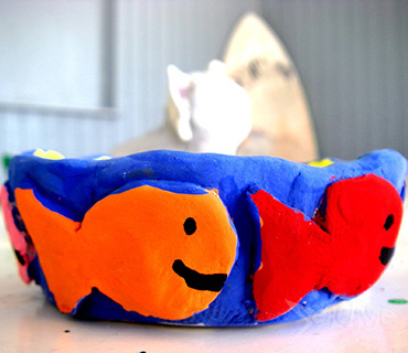 Painted clay fish bowl made during arts and crafts at Seacamp