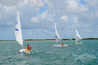 Campers enjoying a nice day of sailing at Seacamp
