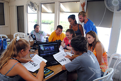 Campers working on the Seacamp newsletter; Seascope